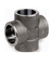 Picture of 1 ¼ inch forged carbon steel socket weld cross
