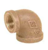 Picture of 2 X 1-1/4 inch NPT Threaded Bronze 90 degree reducing elbow