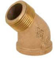 Picture of ¾ inch NPT Threaded Bronze 45 degree street elbow