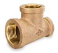 Picture of 3/4 x 3/4 x 1/2 inch NPT threaded bronze reducing tee