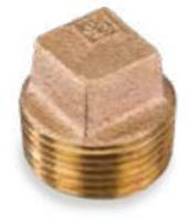 Picture of ¾ inch NPT threaded bronze square head solid plug