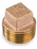 Picture of 1-1/4 inch NPT threaded bronze square head hollow core plug