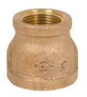 Picture of 3/4 x 1/2  inch NPT threaded lead free bronze reducing coupling